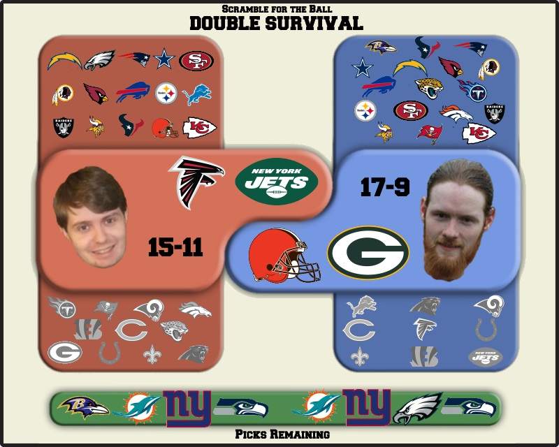 Bryan selects the Falcons and Jets; Andrew takes the Browns and Packers