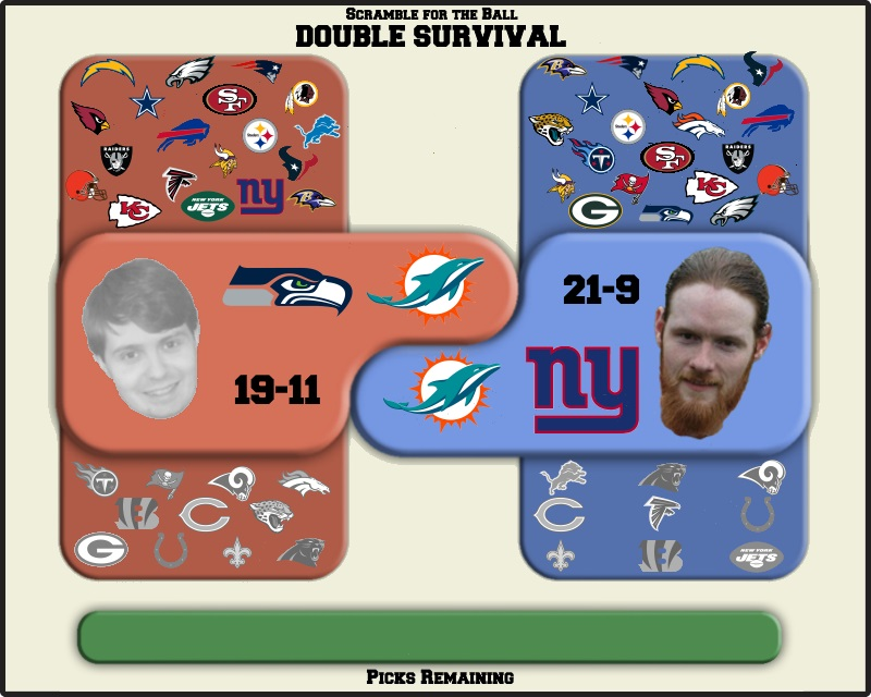 Bryan takes the Seahawks, Andrew takes the Giants, and both take the Dolphins.