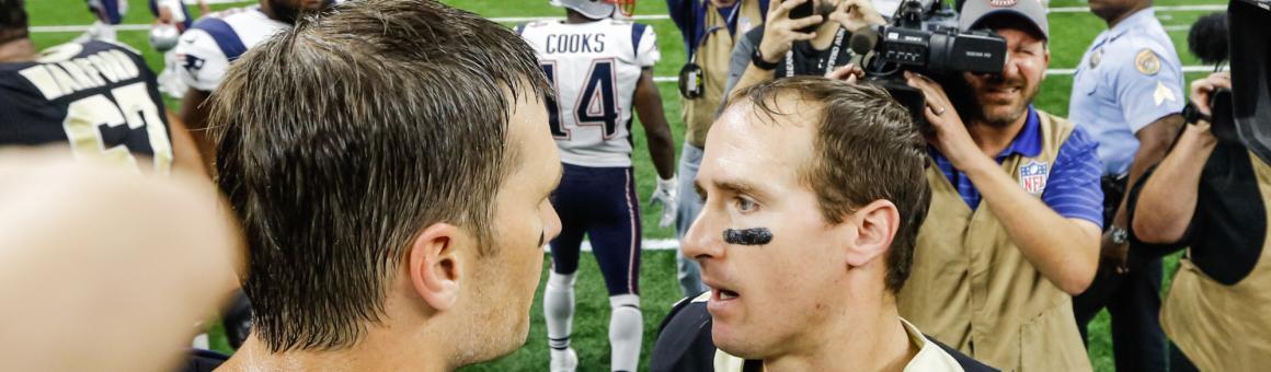 New England Patriots QB Tom Brady and New Orleans Saints QB Drew Brees