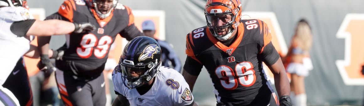 Baltimore Ravens QB Lamar Jackson and Cincinnati Bengals DL Carlos Dunlap