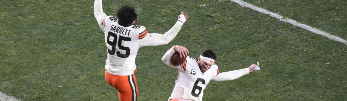 Cleveland Browns DE Myles Garrett and QB Baker Mayfield