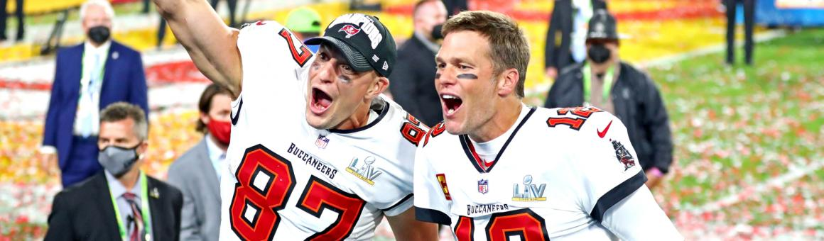 Tampa Bay Buccaneers TE Rob Gronkowski and QB Tom Brady