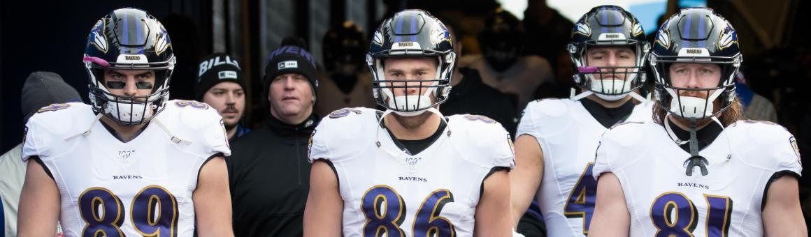 Baltimore Ravens tight ends Mark Andrews, Nick Boyle, and Hayden Hurst