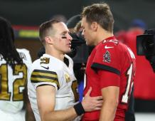 New Orleans Saints QB Drew Brees and Tampa Bay Buccaneers QB Tom Brady