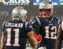 New England Patriots WR Julian Edelman and QB Tom Brady