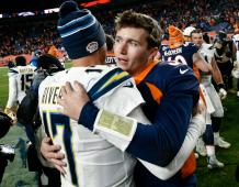Los Angeles Chargers QB Philip Rivers and Denver Broncos QB Drew Lock