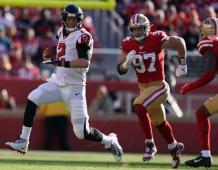 Atlanta Falcons QB Matt Ryan runs from San Francisco defenders