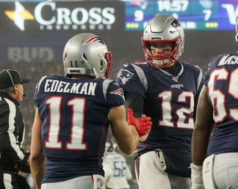 New England Patriots WR Julian Edelman and QB Tom Brady