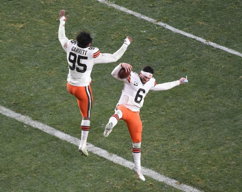 Cleveland Browns DE Myles Garrett and QB Baker Mayfield