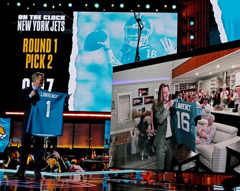 NFL Commissioner Roger Goodell and Jacksonvill Jaguars QB Trevor Lawrence
