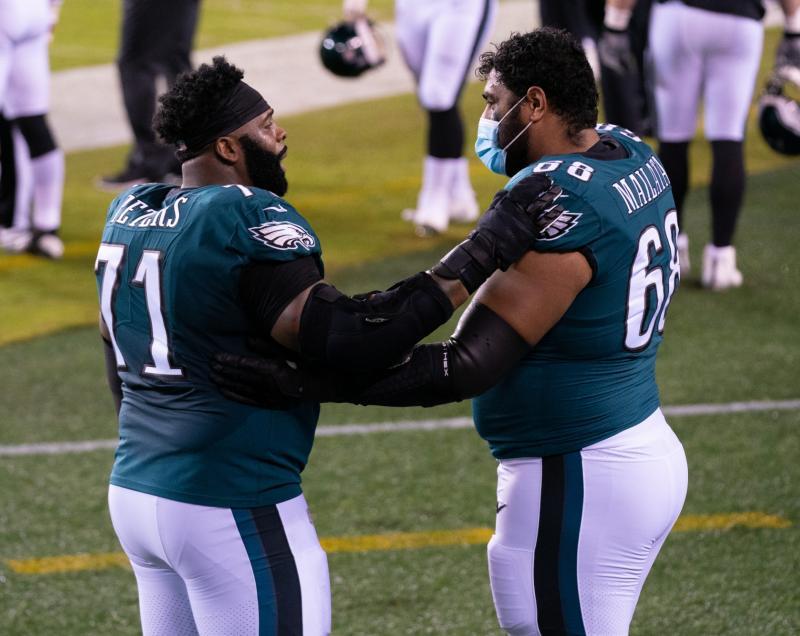 Philadelphia Eagles OL Jason Peters and Jordan Mailata