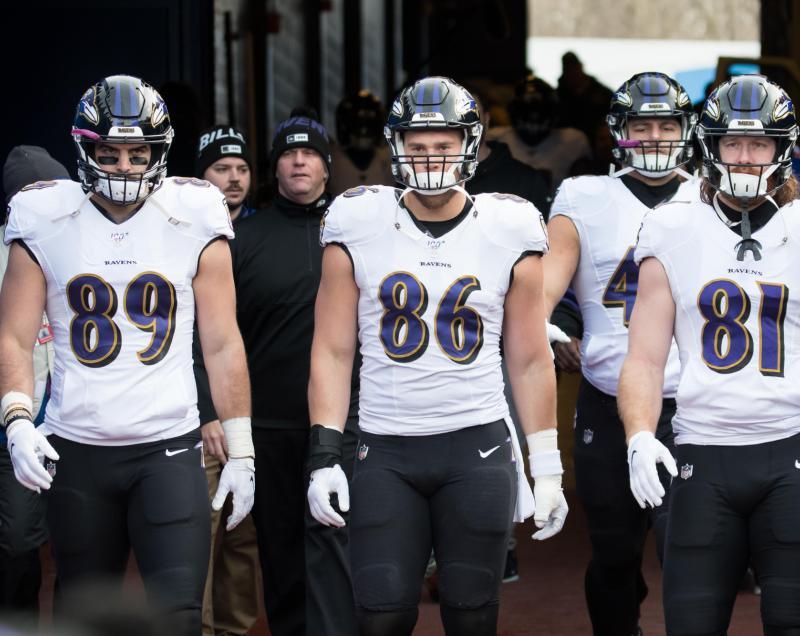 Baltimore Ravens tight ends Mark Andrews, Nick Boyle, and Hayden Hurst