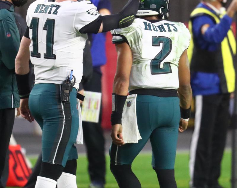 Philadelphia Eagles QBs Carson Wentz and Jalen Hurts