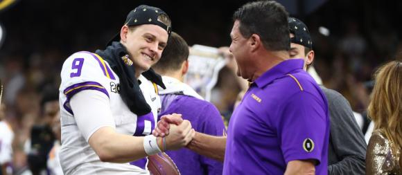 LSU Tigers QB Joe Burrow and head coach Ed Orgeron