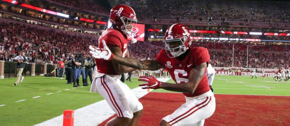 Alabama Crimson Tide WRs John Metchie III and DeVonta Smith
