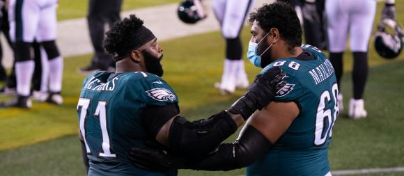 Philadelphia Eagles OL Jason Peters and Jordan Mailata